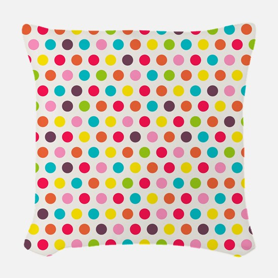 Colorful Polka Dots Pattern 3 Woven Throw Pillow
