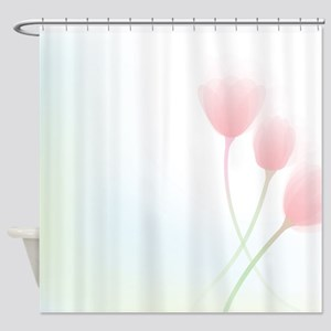 Pink Abstract Flowers Shower Curtain