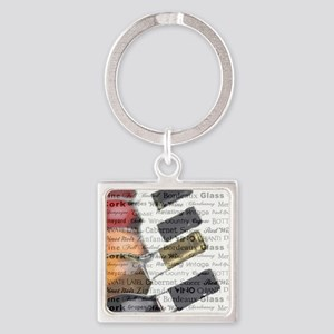 TIME FOR WINE Square Keychain