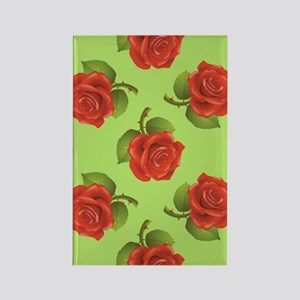 RED ROSES ON GREEN BACKGROUND Rectangle Magnet