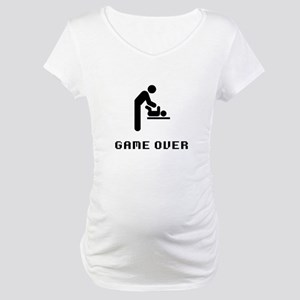 Father Diaper Change Game Over Maternity T-Shirt
