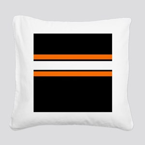 Team Colors 2...Orange,white and black Square Canv