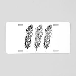 Three Feathers Aluminum License Plate
