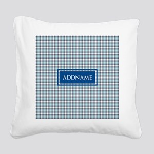 Tartan Pattern Monogram Square Canvas Pillow