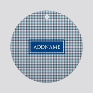 Tartan Pattern Monogram Ornament (Round)