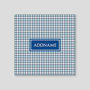 "Tartan Pattern Monogram Square Sticker 3"" x 3"""