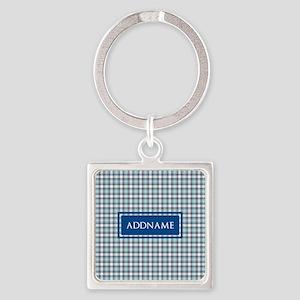 Tartan Pattern Monogram Square Keychain