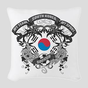 South Korea Soccer Woven Throw Pillow