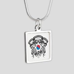 South Korea Soccer Silver Square Necklace