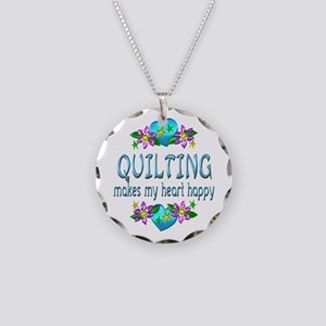 Quilting Heart Happy Necklace Circle Charm