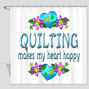 Quilting Heart Happy Shower Curtain