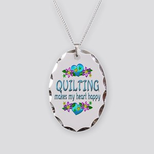 Quilting Heart Happy Necklace Oval Charm