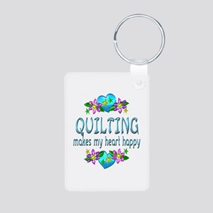 Quilting Heart Happy Aluminum Photo Keychain