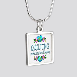 Quilting Heart Happy Silver Square Necklace