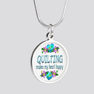Quilting Heart Happy Silver Round Necklace