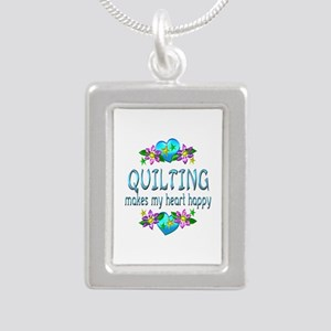 Quilting Heart Happy Silver Portrait Necklace