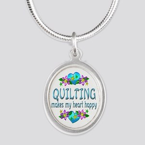 Quilting Heart Happy Silver Oval Necklace