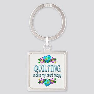 Quilting Heart Happy Square Keychain