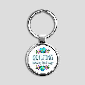 Quilting Heart Happy Round Keychain