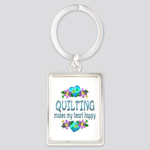 Quilting Heart Happy Portrait Keychain