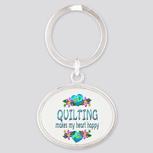 Quilting Heart Happy Oval Keychain