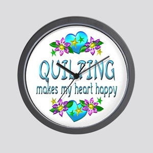 Quilting Heart Happy Wall Clock