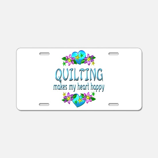 Quilting Heart Happy Aluminum License Plate