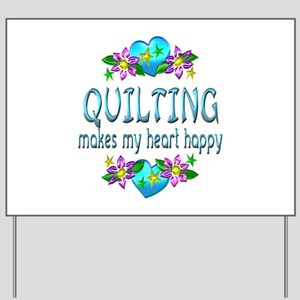 Quilting Heart Happy Yard Sign