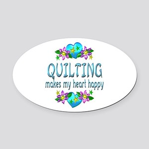 Quilting Heart Happy Oval Car Magnet