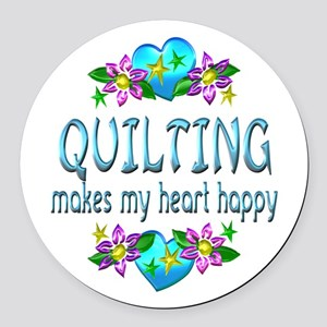 Quilting Heart Happy Round Car Magnet