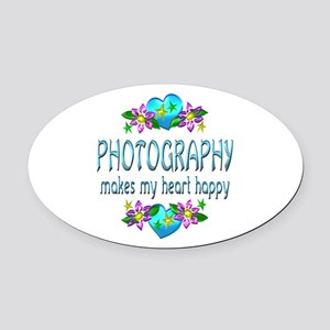 Photography Heart Happy Oval Car Magnet