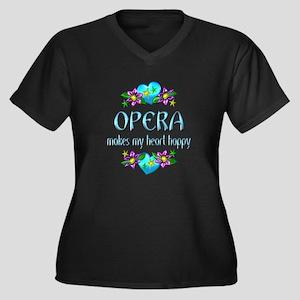 Opera Heart Women's Plus Size V-Neck Dark T-Shirt