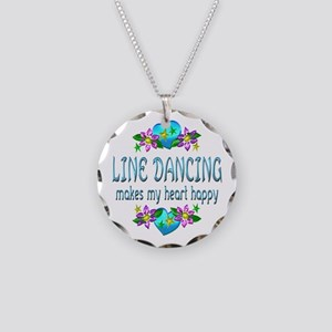 Line Dancing Heart Happy Necklace Circle Charm