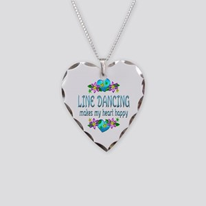 Line Dancing Heart Happy Necklace Heart Charm