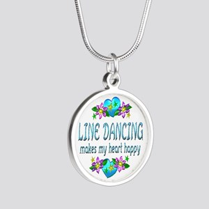Line Dancing Heart Happy Silver Round Necklace