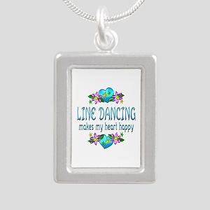 Line Dancing Heart Happy Silver Portrait Necklace