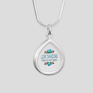 Line Dancing Heart Happy Silver Teardrop Necklace