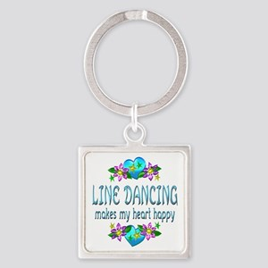 Line Dancing Heart Happy Square Keychain