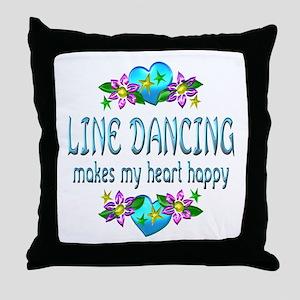 Line Dancing Heart Happy Throw Pillow