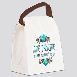 Line Dancing Heart Happy Canvas Lunch Bag