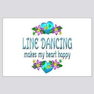 Line Dancing Heart Happy Large Poster