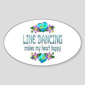 Line Dancing Heart Happy Sticker (Oval)