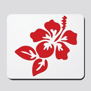Red Hibiscus Tropical Hawaii Flower Mousepad