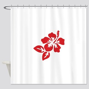 Red Hibiscus Tropical Hawaii Flower Shower Curtain