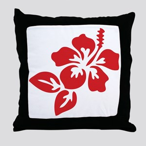 Red Hibiscus Tropical Hawaii Flower Throw Pillow