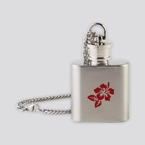 Red Hibiscus Tropical Hawaii Flower Flask Necklace