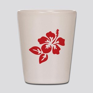 Red Hibiscus Tropical Hawaii Flower Shot Glass