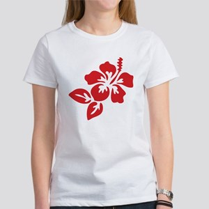 Red Hibiscus Tropical Hawaii Flowe Women's T-Shirt