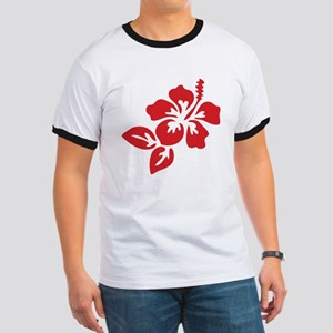 Red Hibiscus Tropical Hawaii Flower Ringer T