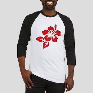 Red Hibiscus Tropical Hawaii Flowe Baseball Jersey